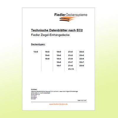Abbildung Titelseite Fiedler Technische Datenblätter Ziegel-Einhängedecken