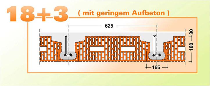 Fiedler Deckensysteme Ziegel-Einhängedecke mit geringem Aufbeton Zeichnung Detail