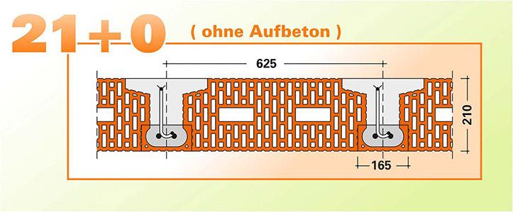 Fiedler Deckensysteme Ziegel-Einhängedecke ohne Aufbeton Zeichnung Detail